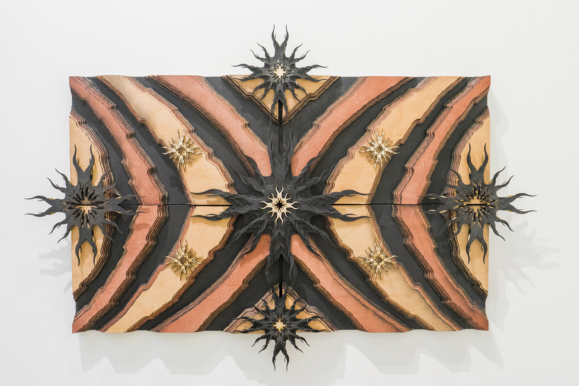 """Scarpet 5: Animas , 2017 Stained and natural wood 24"""" x 36"""" (field 19"""" x 31"""") Private Collection"""