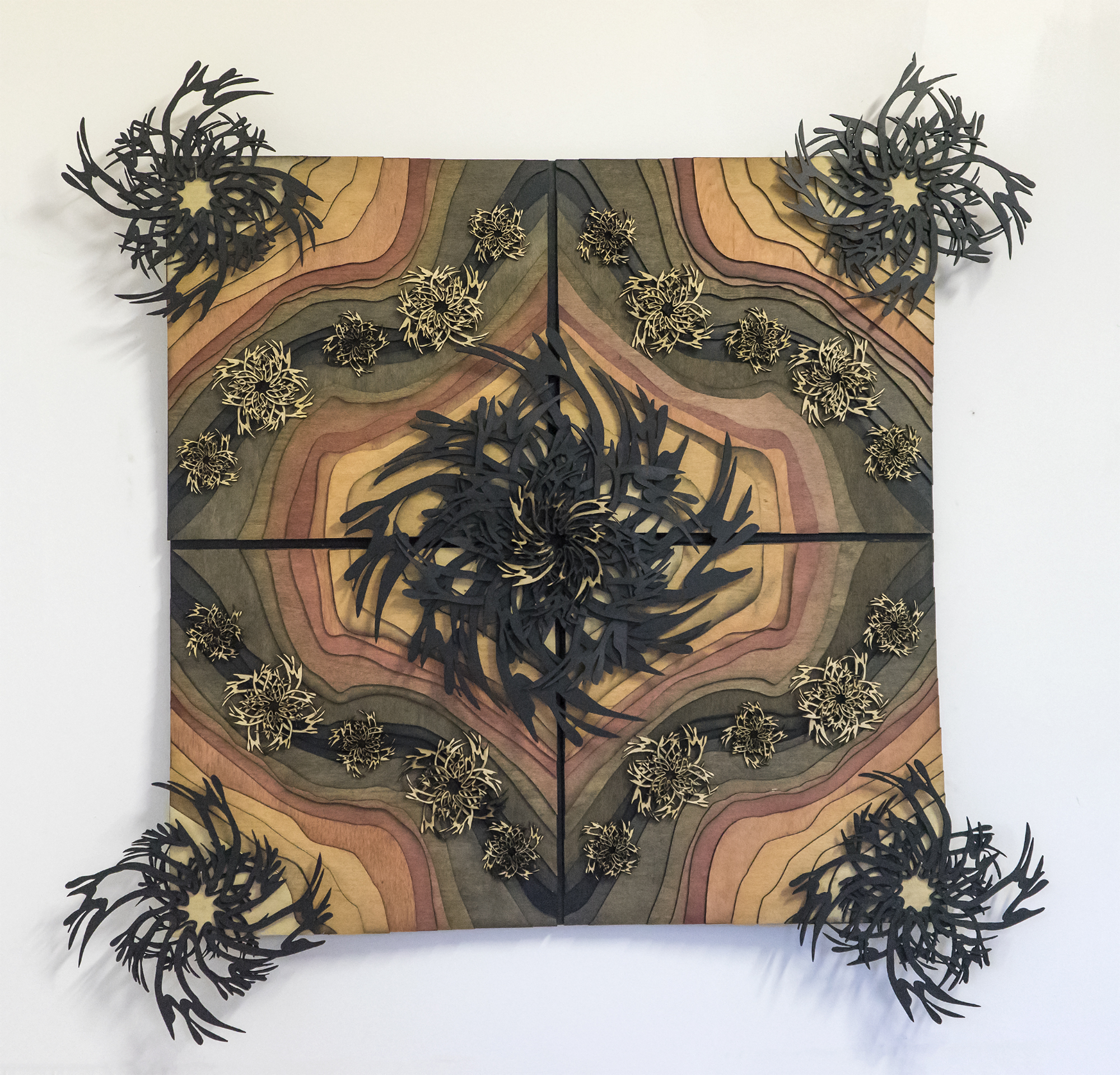 """Scarpet 3: Three Mile , 2017 Stained and natural wood 40.5"""" x 40.5"""" (field 32"""" x 32"""")"""
