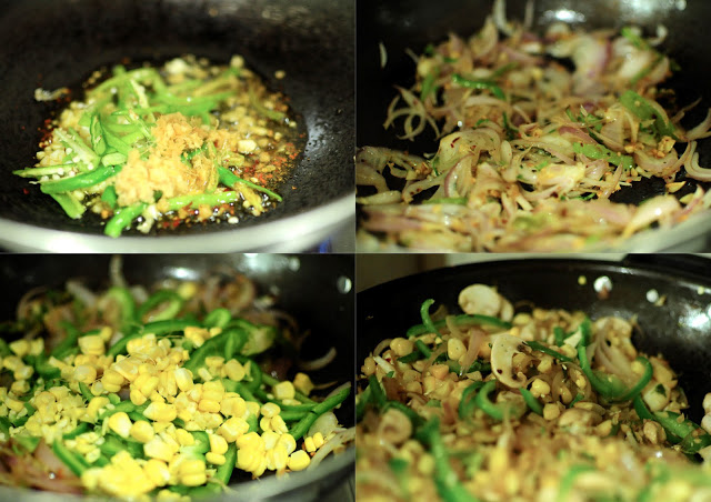 Saute the garlic, ginger, chilies and onions. Add some herbs, spices such as Papa's Magic Masala mix or chat masala. Add the corn and mushrooms.