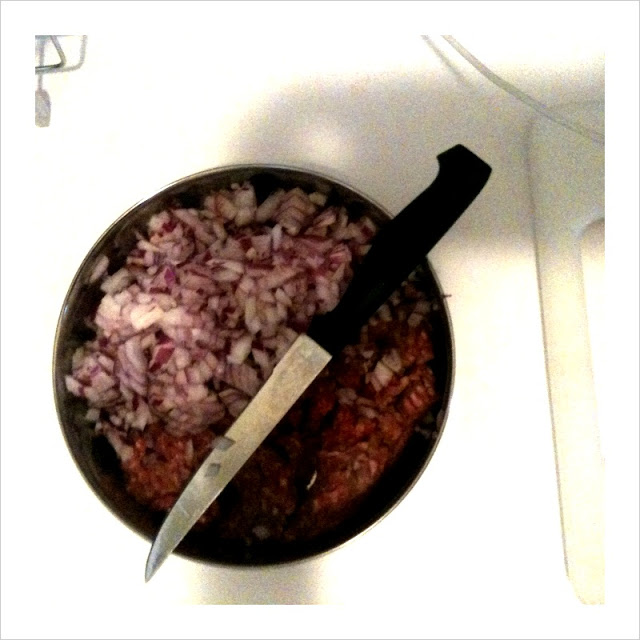 Chopped onions and minced lamb