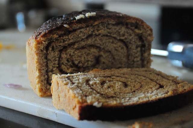 A delicious heartwarming cinnamon bread baked by my friend Anand