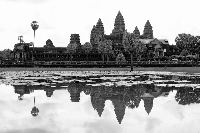 The beautiful Angkor Wat across from the lotus pond.
