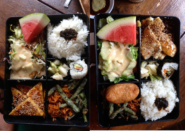 The tofu / chicken bento box with a creamy sesame salad, fruit, and california roll