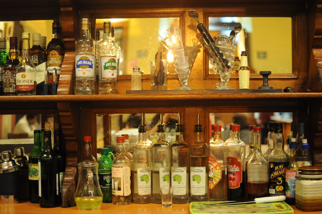 A variety of piscos- the national drink