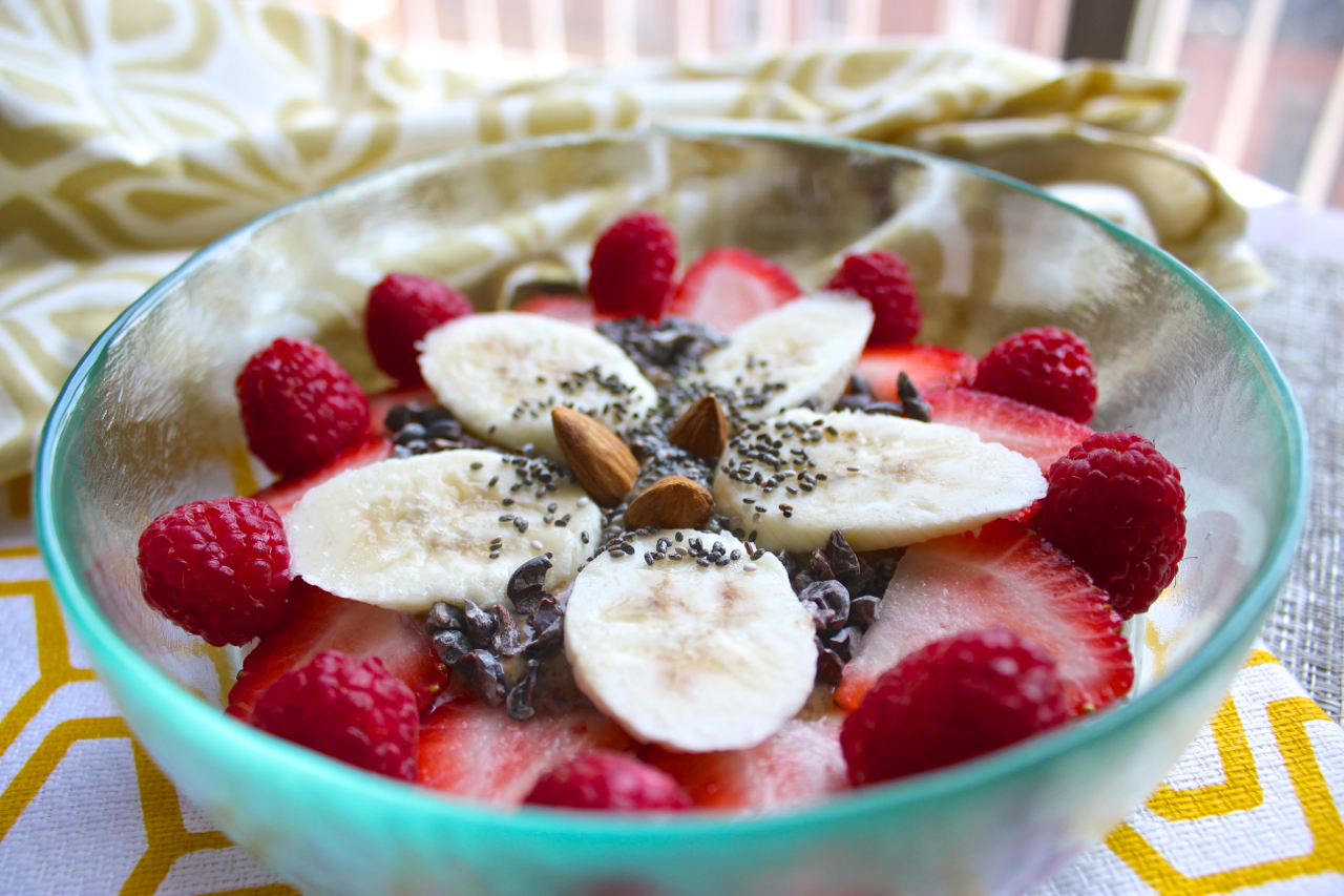 Detail: Greek Yogurt with Strawberries, Raspberries, Bananas, Cacao Nibs, Chia Seeds, and Almonds