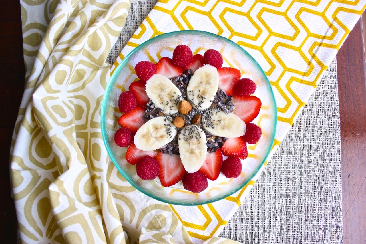 Greek Yogurt with Strawberries, Raspberries, Bananas, Cacao Nibs, Chia Seeds, and Almonds