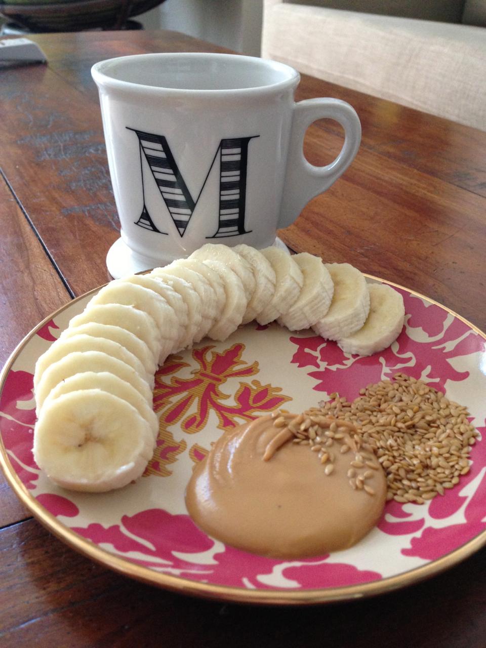 Bananas w/Almond Butter & Flax Seeds