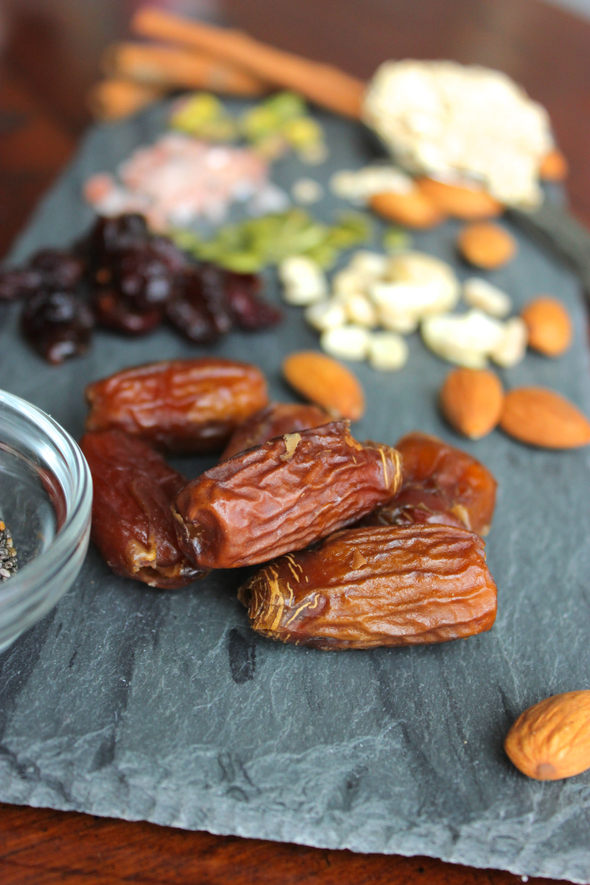 Dried, pitted deglet noor dates