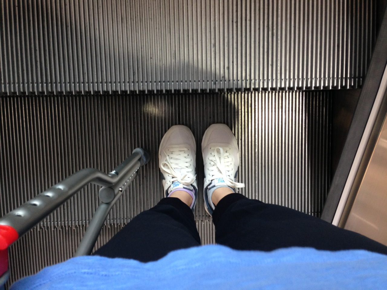 Orthopedic approved shoes, crutch, and escalators just screams summertime in your twenties, no?