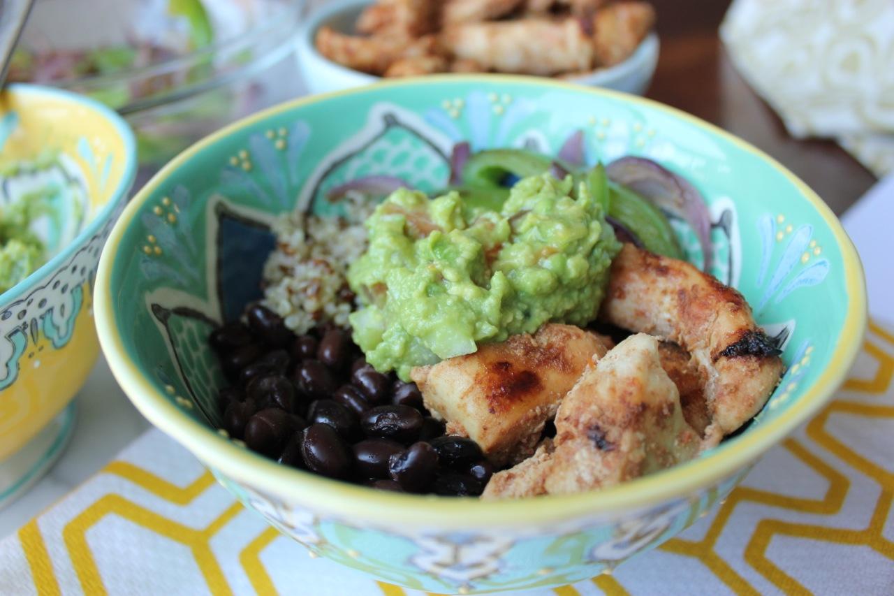 Chicken atop my  Quinoa Burrito Bowl