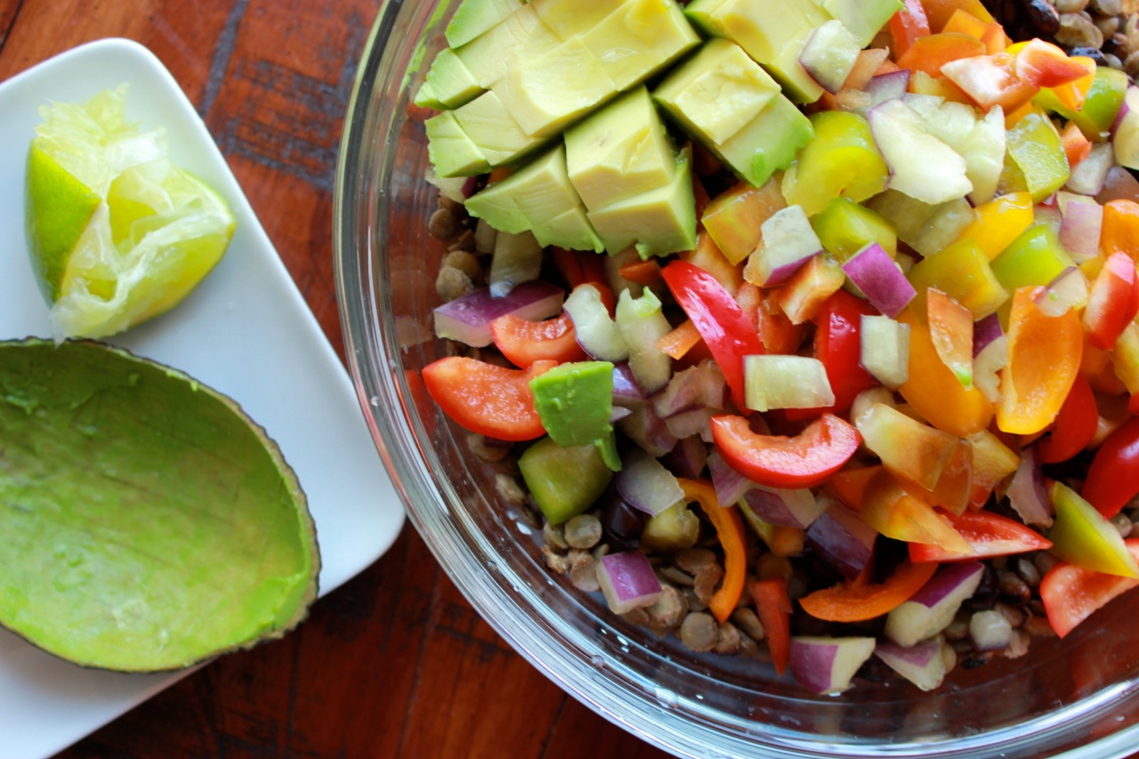 Lentil Black Bean Bell Pepper Salad w:Tomatillo Sauce | Living Minnaly10.jpg