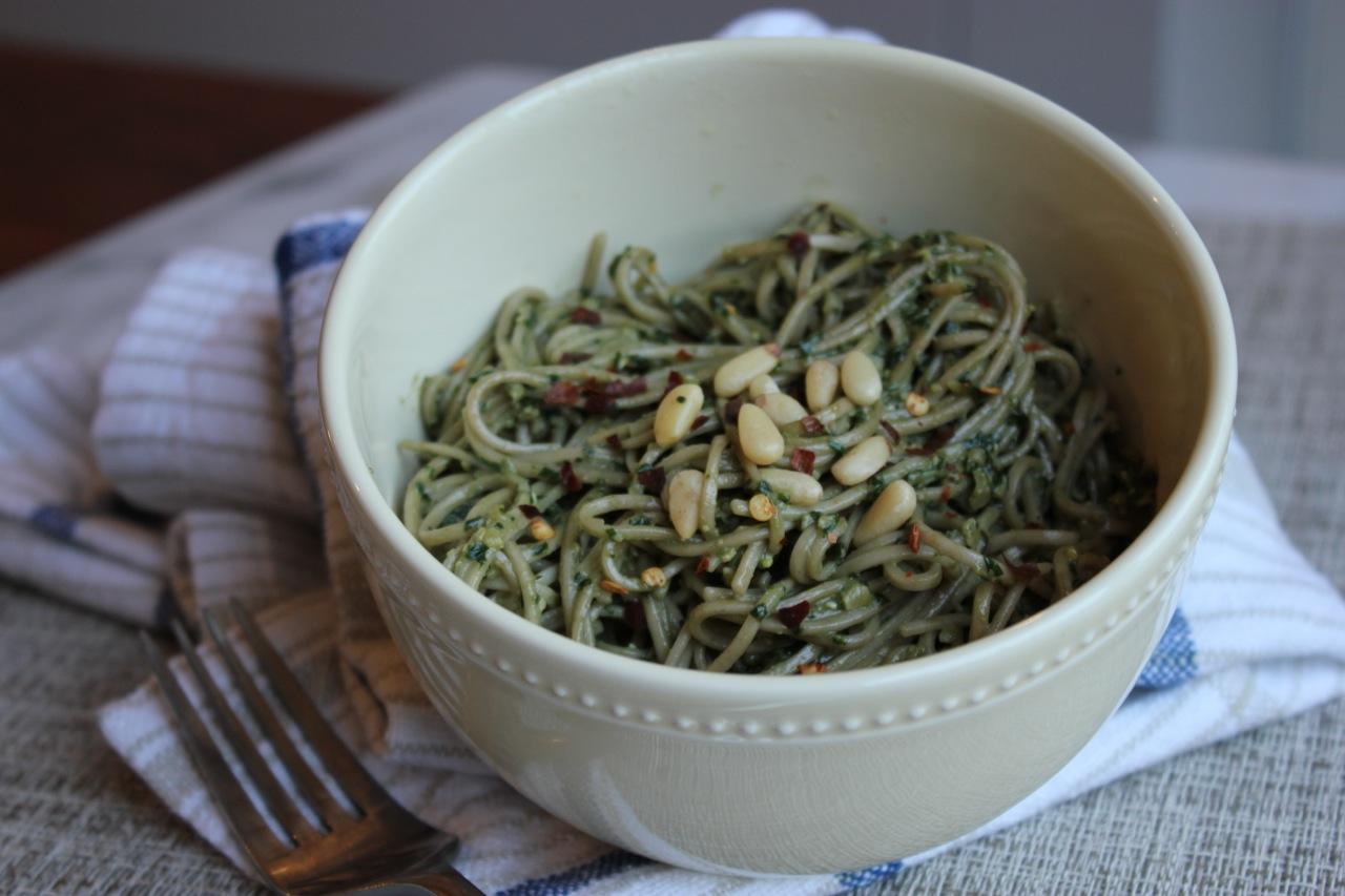 My pesto mixed into soba noodles!