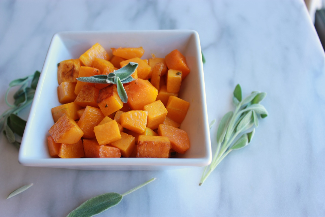 Roasted Brown Butter Sage Butternut Squash + How to Cube a Butternut Squash | Living Minnaly