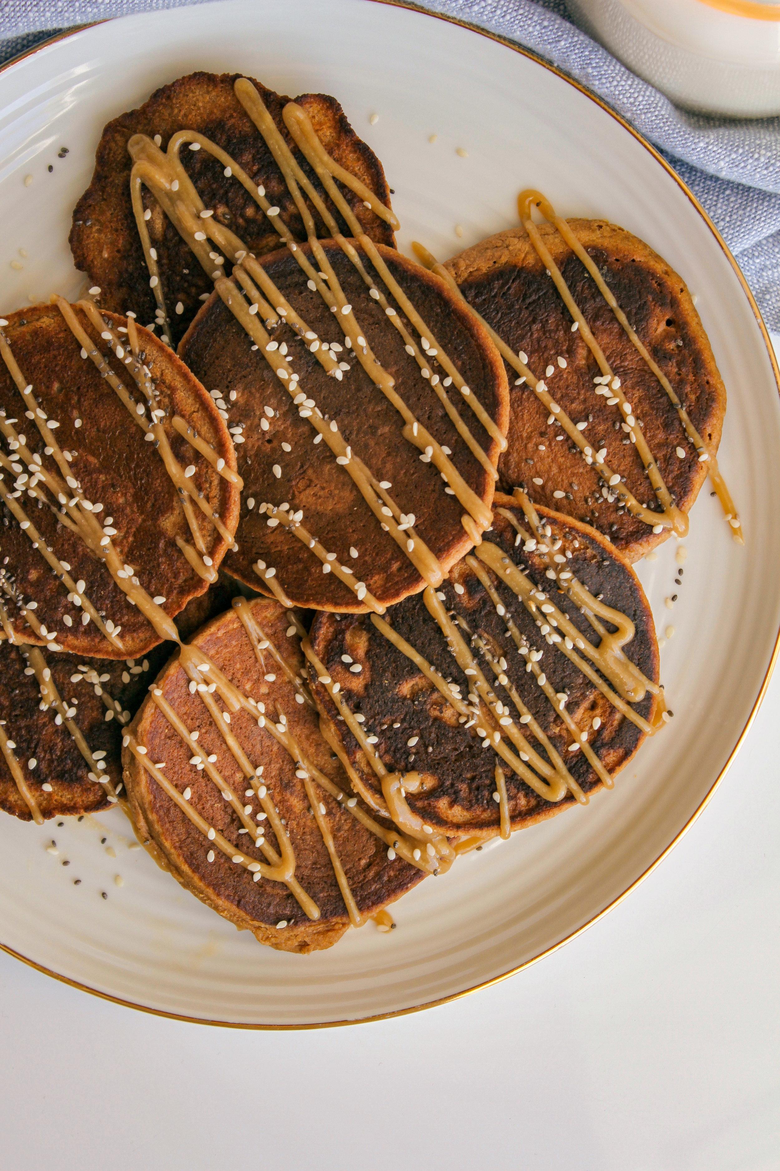 Apple Cinnamon Tahini Oat Pancakes | Living Minnaly __12.jpg