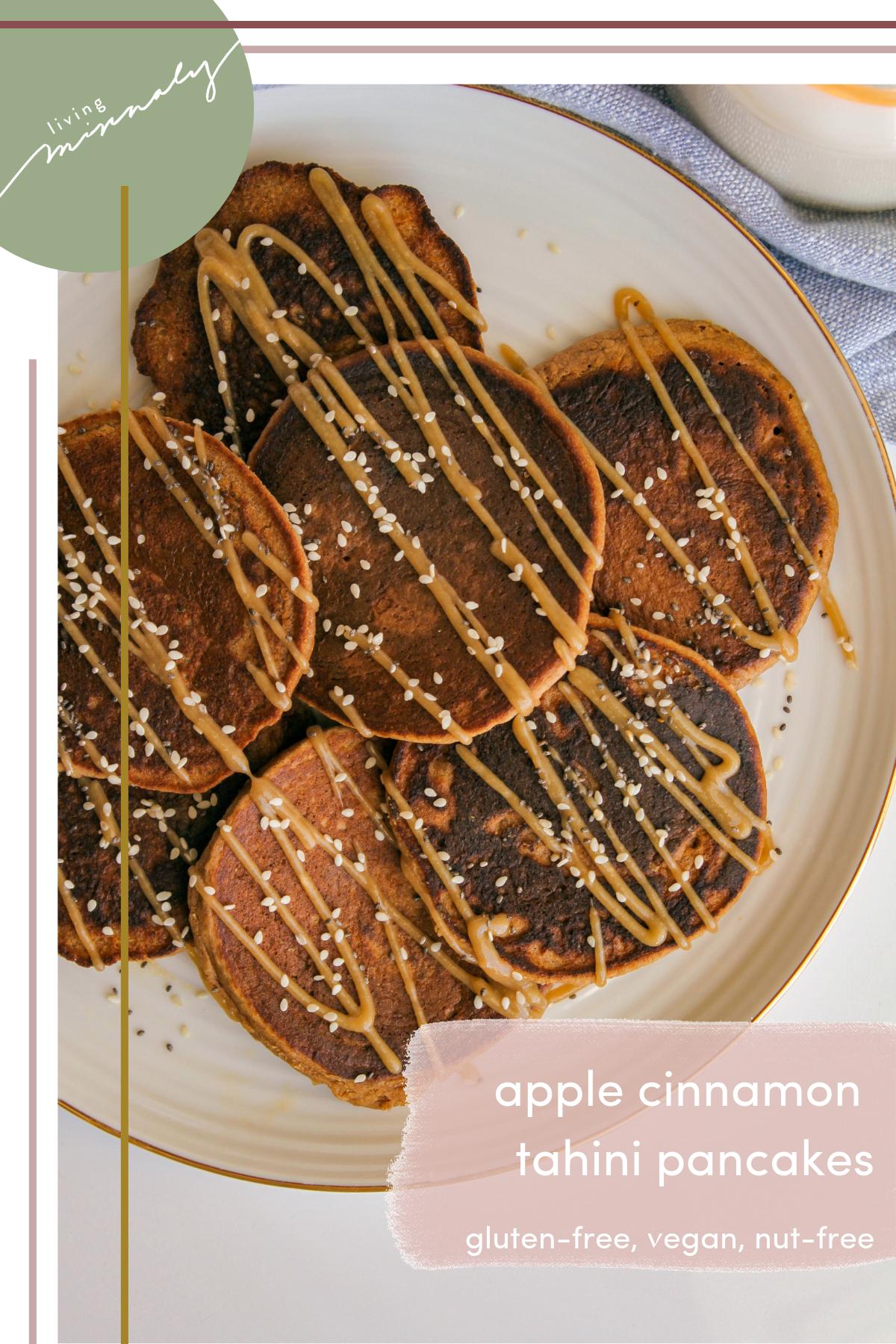 Apple Cinnamon Tahini Oat Pancakes | Living Minnaly