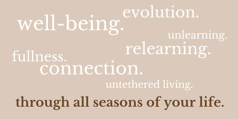 well-being. evolution. unlearning. re-learning. fullness. connection. untethered living. through all seasons of your life. (2).png