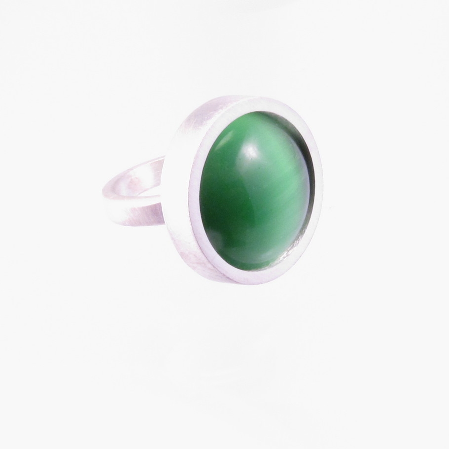 green cat's eye in brushed sterling
