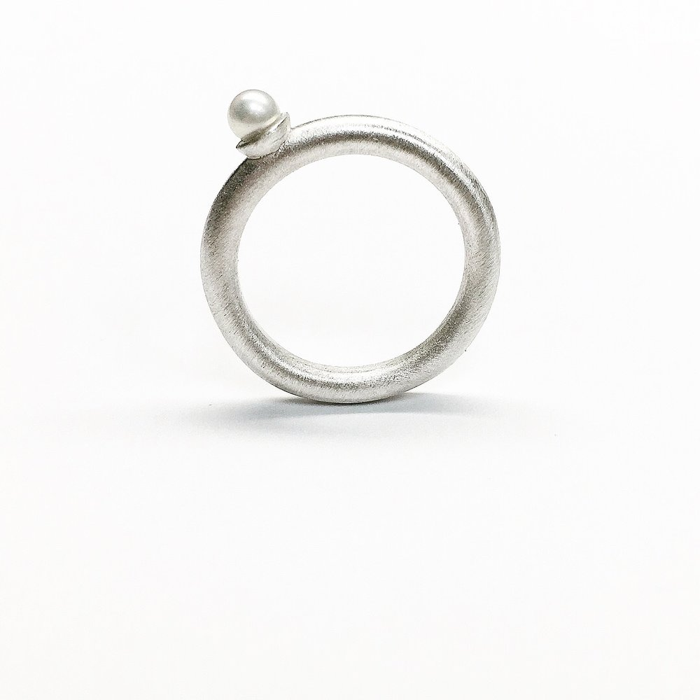 Sterling Silver Pearl Band