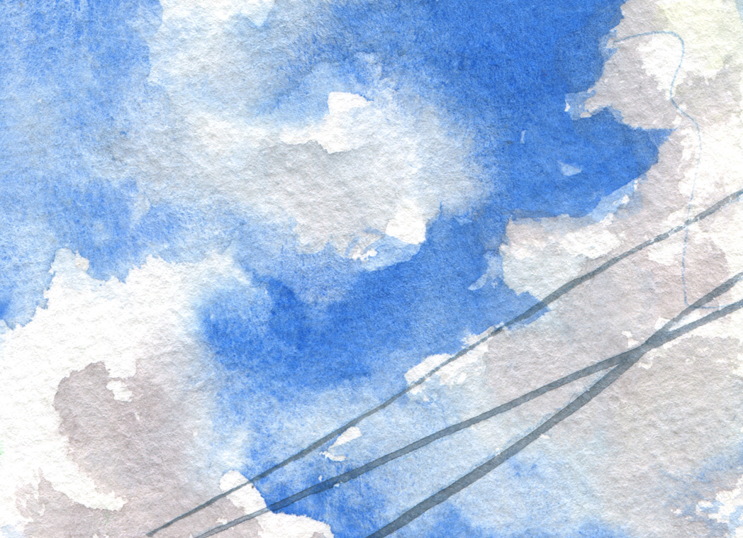 Blue sky in my garden in the Hollywood Riviera. It was almost exactly the right color, something I enjoyed very much. Painted with Cobalt blue ( Sennelier), light red (Winsor and Newton) and a touch of raw sienna.
