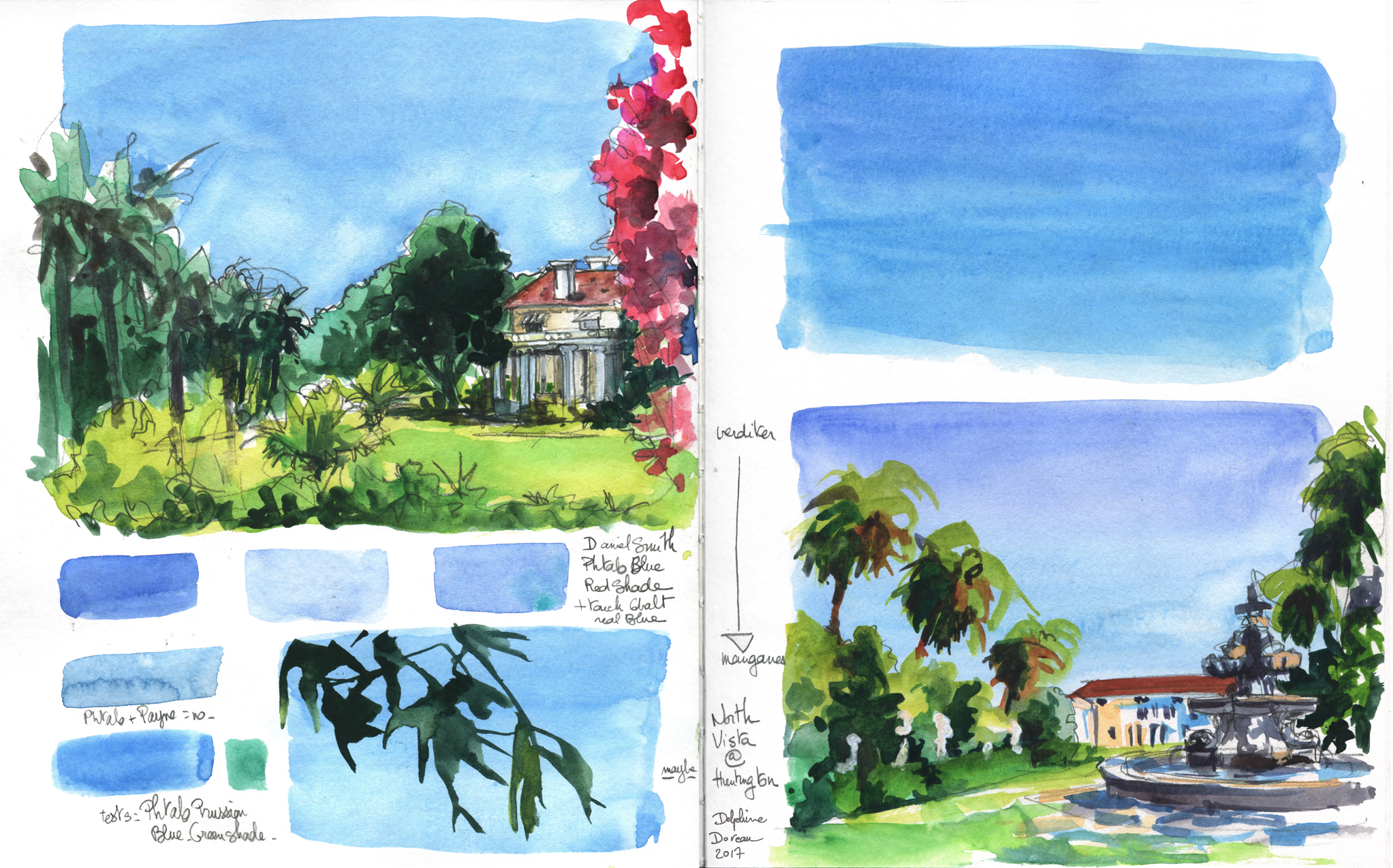 Blue sky tests at the Huntington Gardens, in San Marino, CA. This was before I understood that I really, really needed to wet my paper before painting skies.