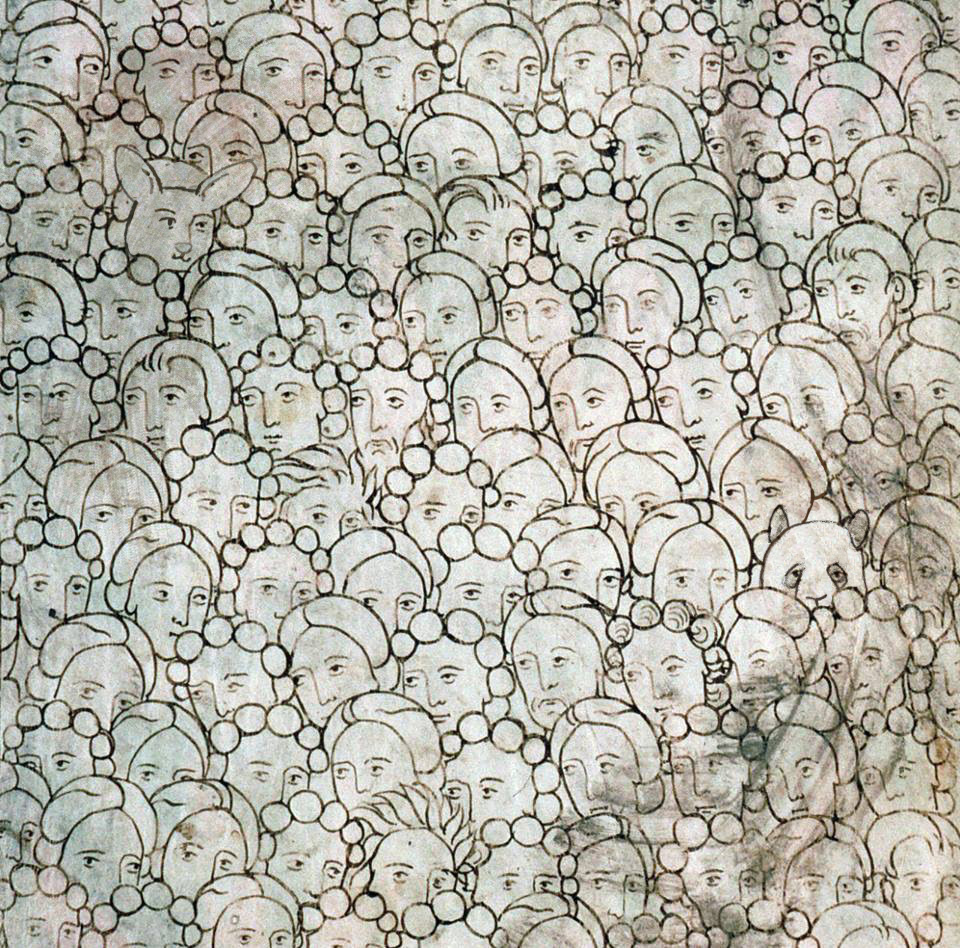 (Crowd of the Damned' from the 'Pamplona Bible', Navarre, 1197 . Amiens, Bibliothèque municipale, ms. 108, fol. 254r)