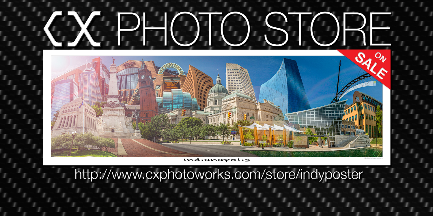 "CX Photo Store OPEN for business -- Downtown Indianapolis 12"" x 36"" poster."