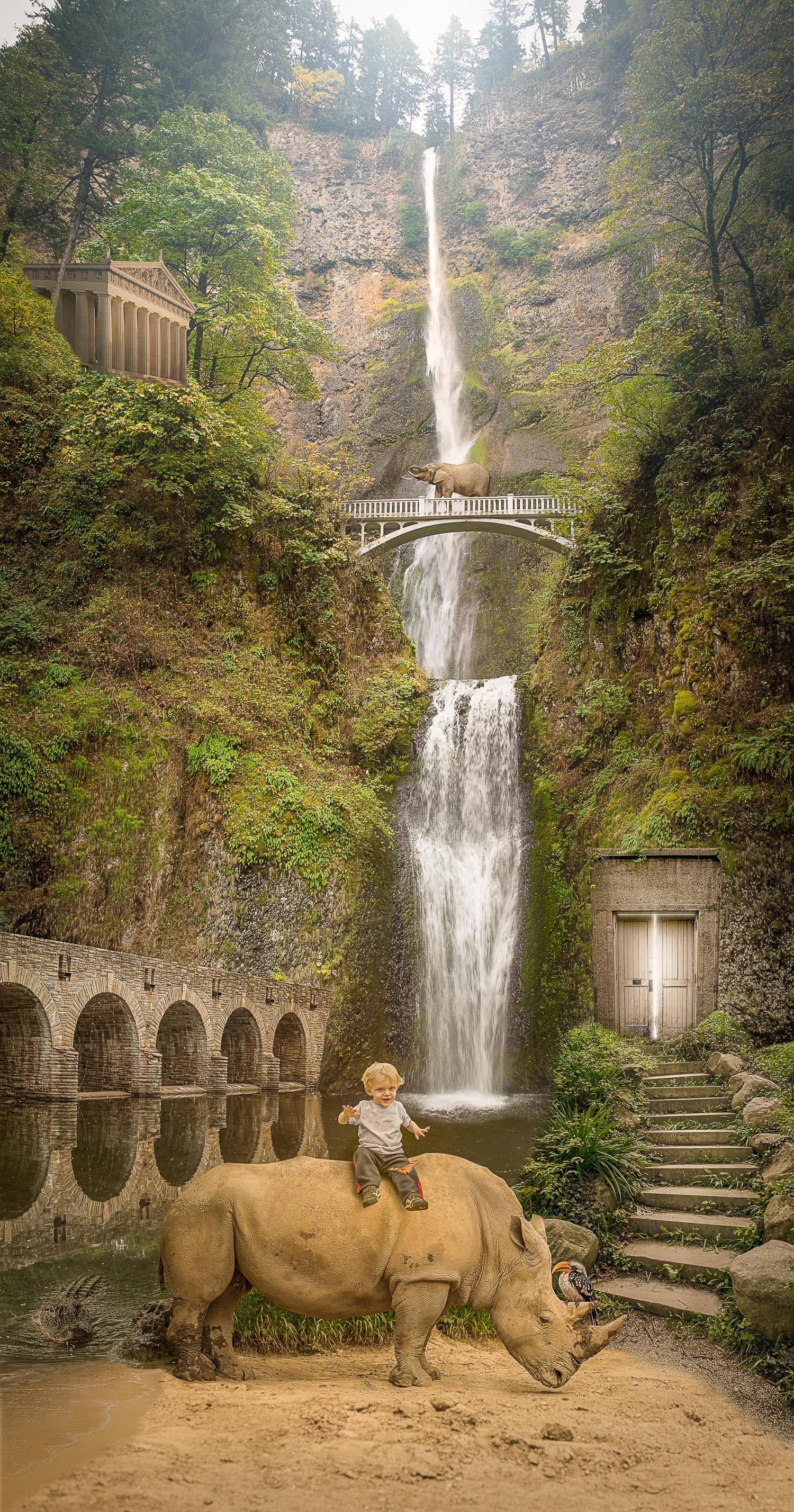 Photo manipulation & composite of a boy on rhinoceros near a waterfall