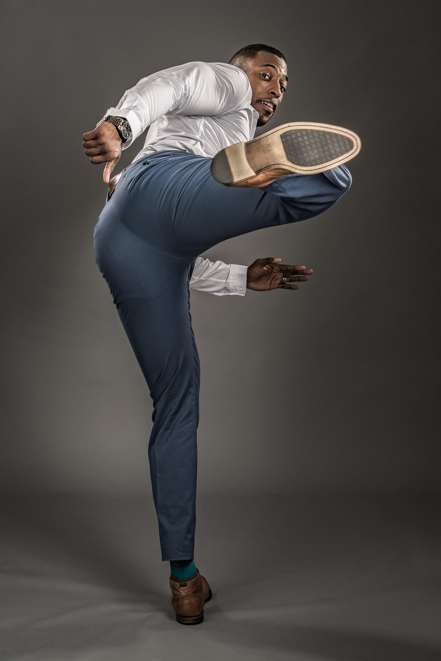 Portrait of Actor Model Kicking