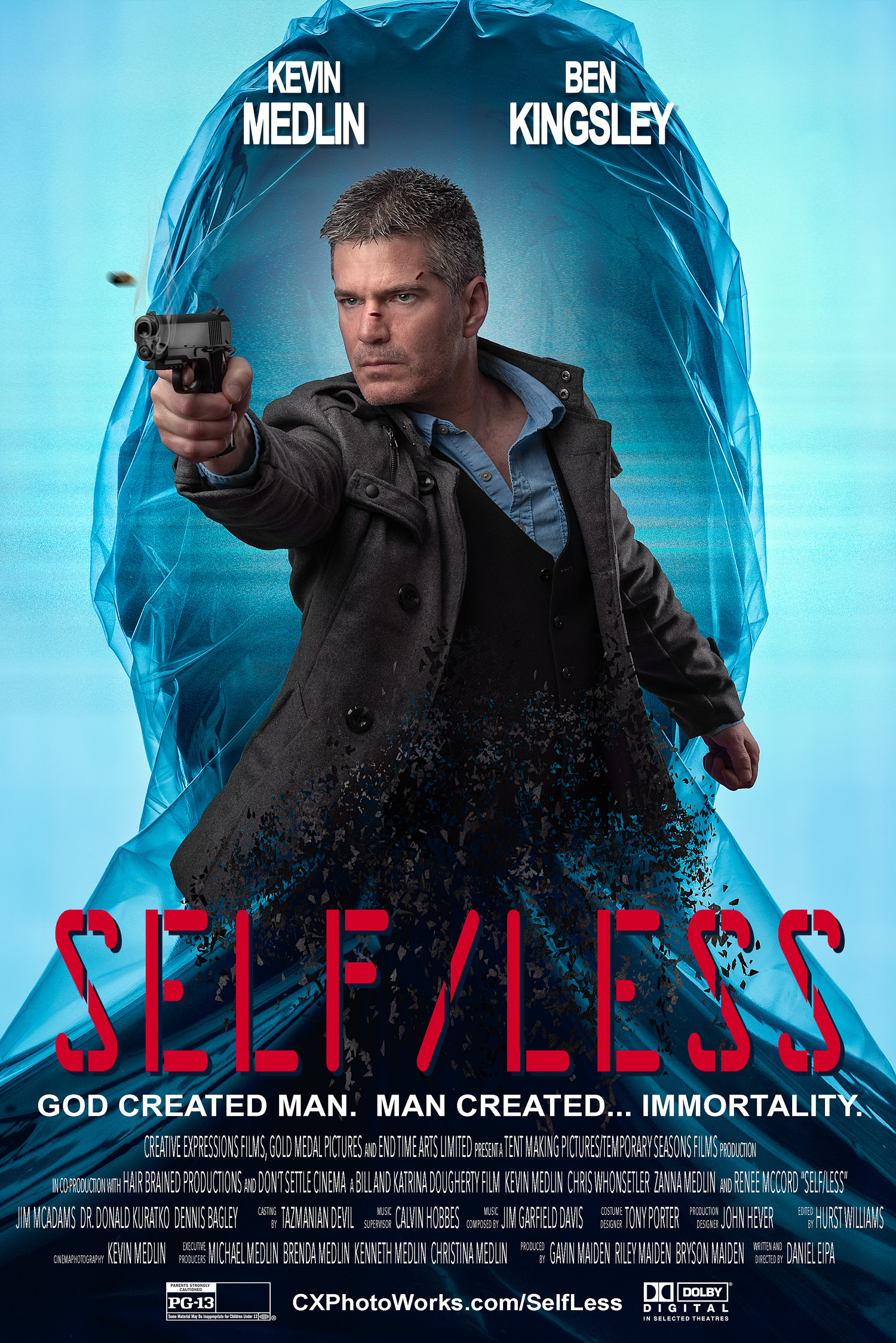 """Self/Less"" movie poster remake (with text)."