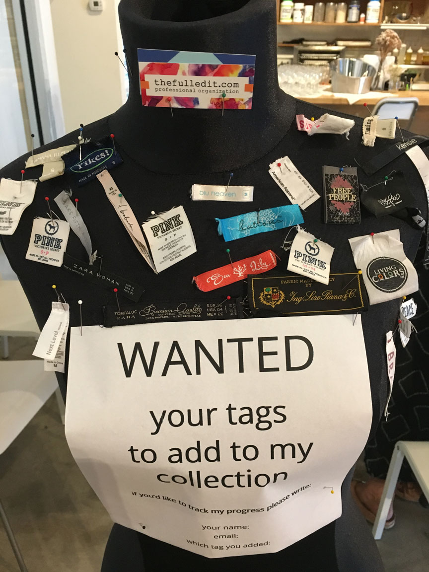#WhoMadeMyClothes - I had been collecting tags from clothing at upcucling events I held over the past 2 years. They were to be used for the ultimate #WhoMadeMyClothes shirt for Fashion Revolution week. During this week, Designers and consumers are asked to turn their shirts inside out and ask, show the tag and ask the brand
