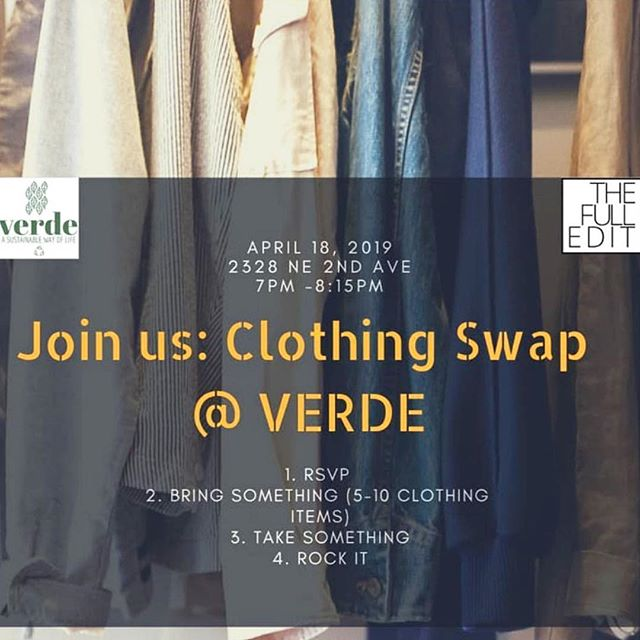 C L O T H E S 👗swapping  Happening: tonight @verde_market with my biz @thefulledit ! . s o l d 🎟 out ! . Thank you SO much for your support! . Next BIG swap happening 4/27 along with #DIY upcycle + #zerowaste workshops in honor of  #fashionrevolution week 🎟 available in bio link 🤟🏽✂️♻️