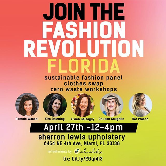 In case we have yet to meet- I'm Colleen, owner of @TheFullEdit. TFE has (proudly w/ the help of you, my friends) removed 6,026lbs of textiles from the waste stream through upcycling workshops, clothing swaps and organizing Miami's Annual Eco Fashion Show. We recently did a clothes swap @verde_market Market. It went so well we're having another this Saturday 4/27 from 12-4pm in honor of Fashion Revolution Week which calls for transparency in the apparel supply chain. . Also included... mini WORKSHOPS in 🚀screen-printing 🧵 sewing 🧶embroidery 🔨#zerowaste woodworking at an actual #MadeInDade sewing & custom furniture manufacturing facility 👖sustainable fashion panel 🐼#ethical & #animal loving activists . Millennials, Moms, dads, double dads, kids, basically all humans are welcome 🎟 + more info here : http://bit.ly/2KgsNkh . See you there! 🤟🏽😎🤟🏽 it's time for a #fashionrevolution  @fash_rev @fash_revusa