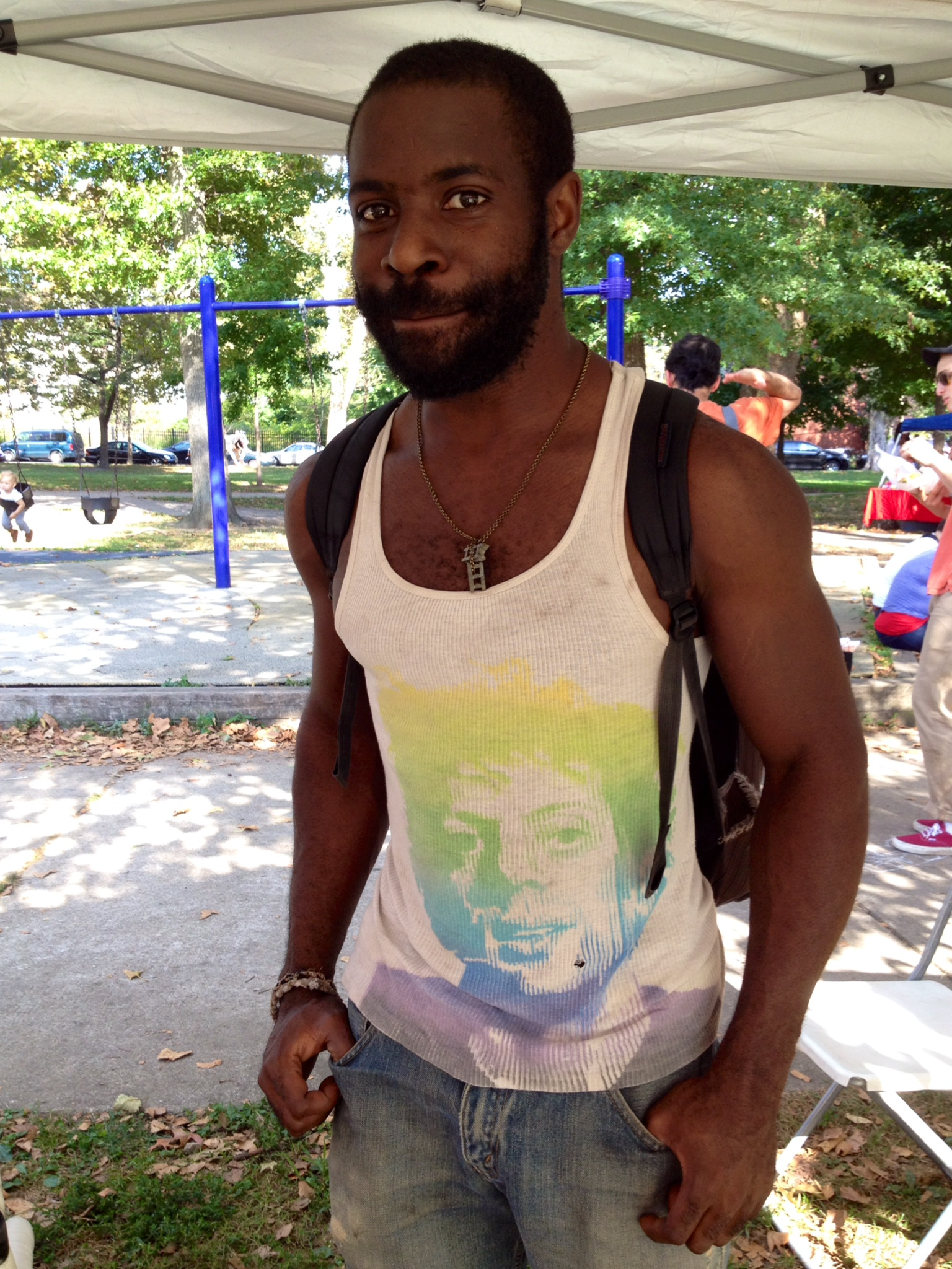 kuf, member of  west philadelphia orchestra , swung by to model our wares. here he's sporting a twin cinderblocks necklace.