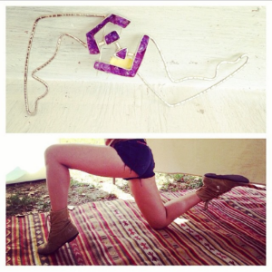 life imitates art. one-of-a-kind segments leg brooch cometh to life.