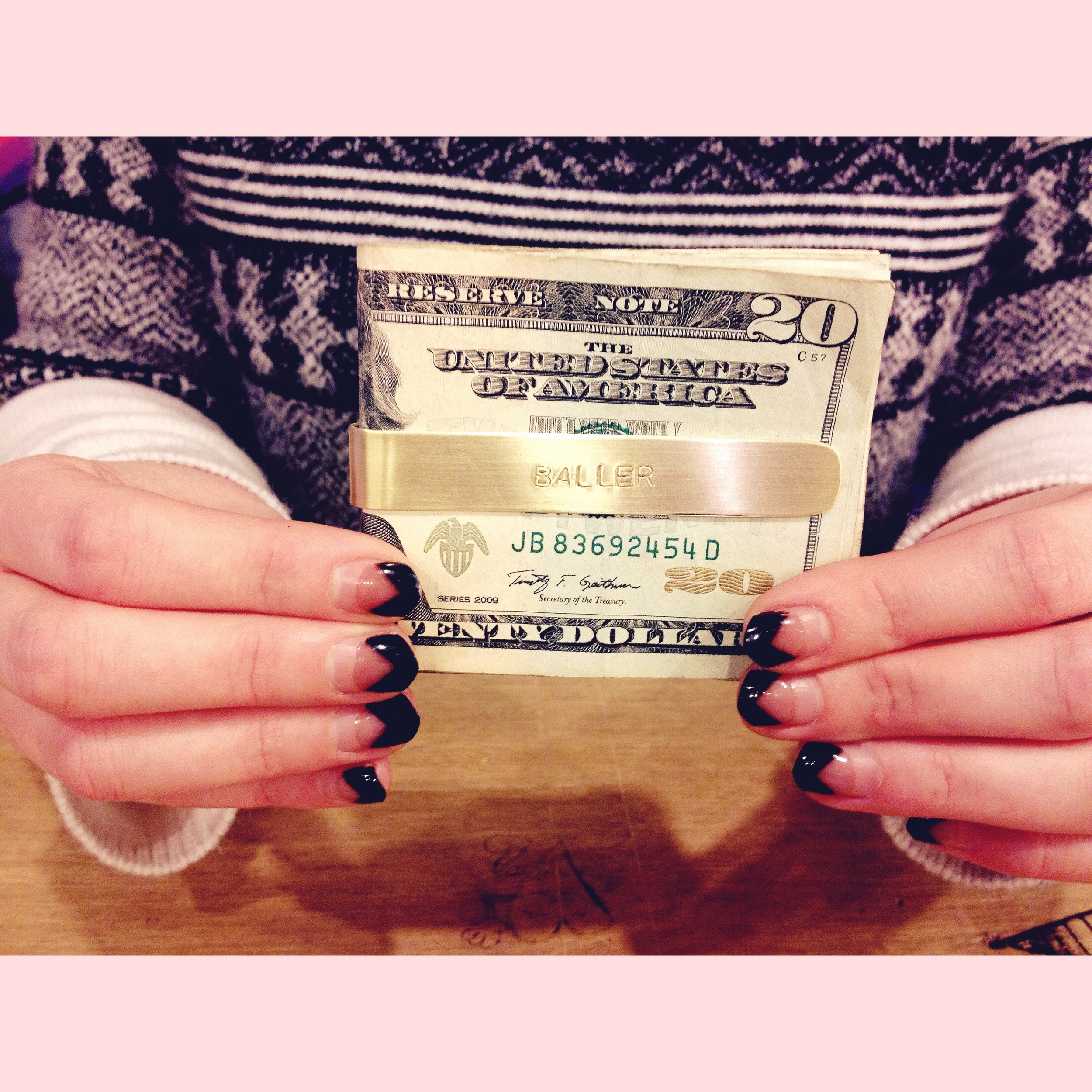 """The women of  American Mortals Salon  got it like that. Seen here:custom stamped Money Clip """"Baller"""" edition"""