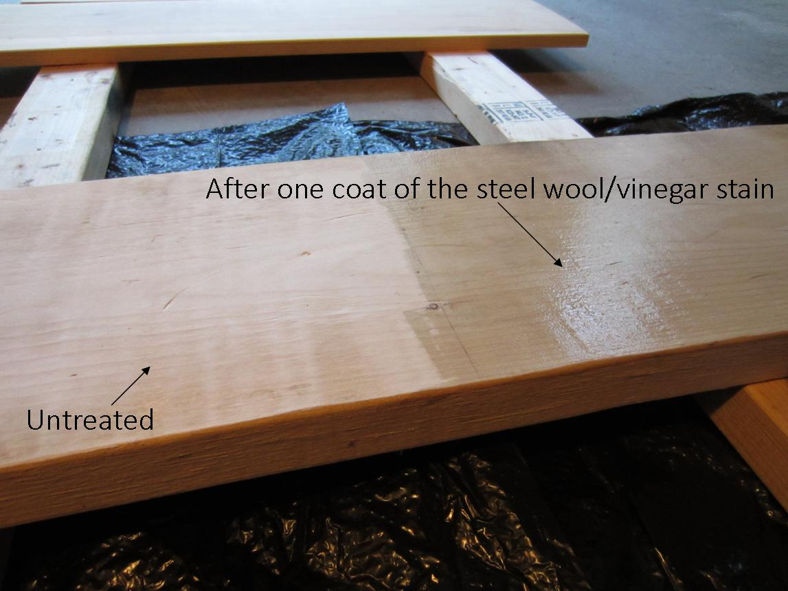 Using steel wool and vinegar stain - after one coat