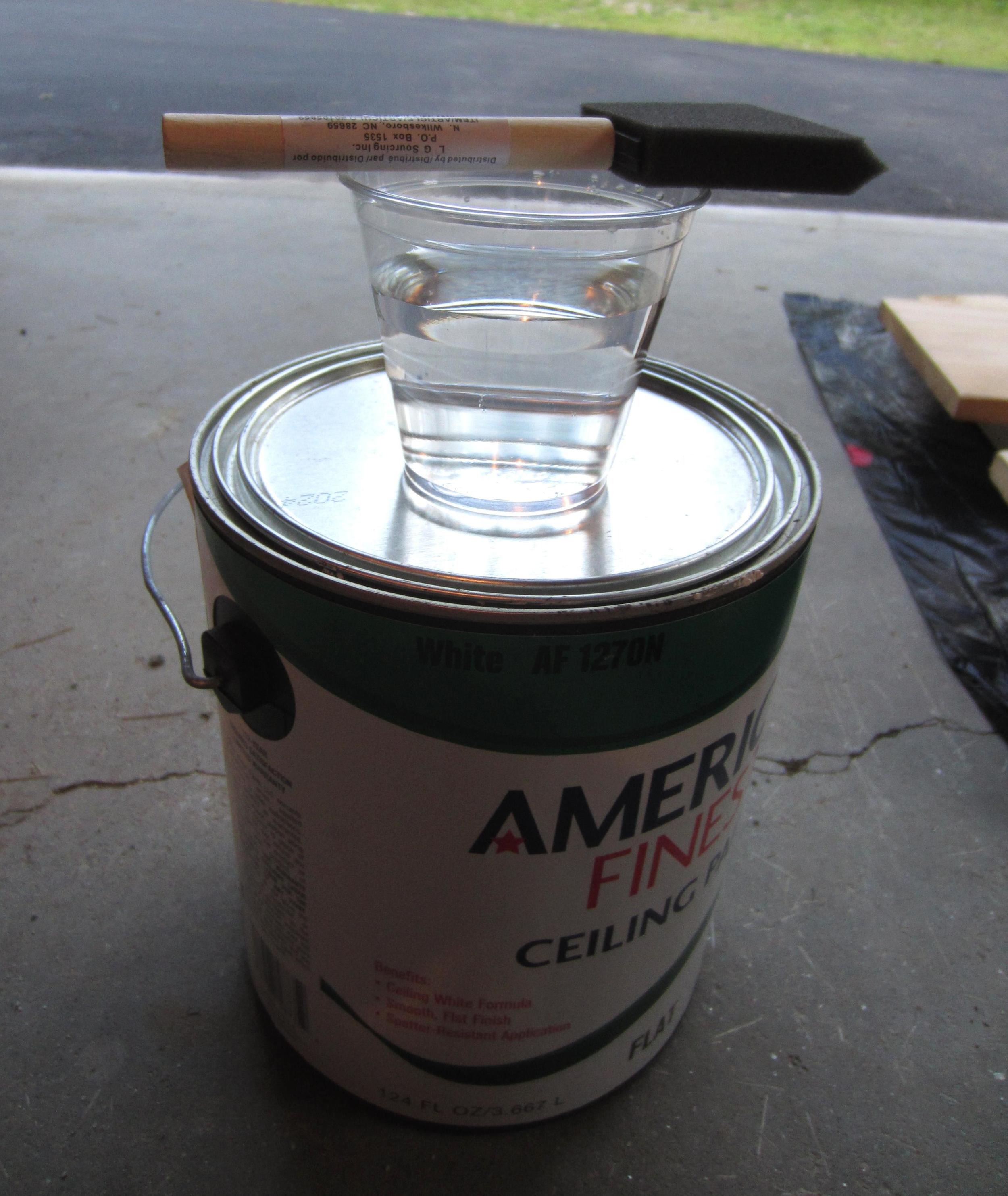 Leftover ceiling paint works great to make your whitewash mixture.