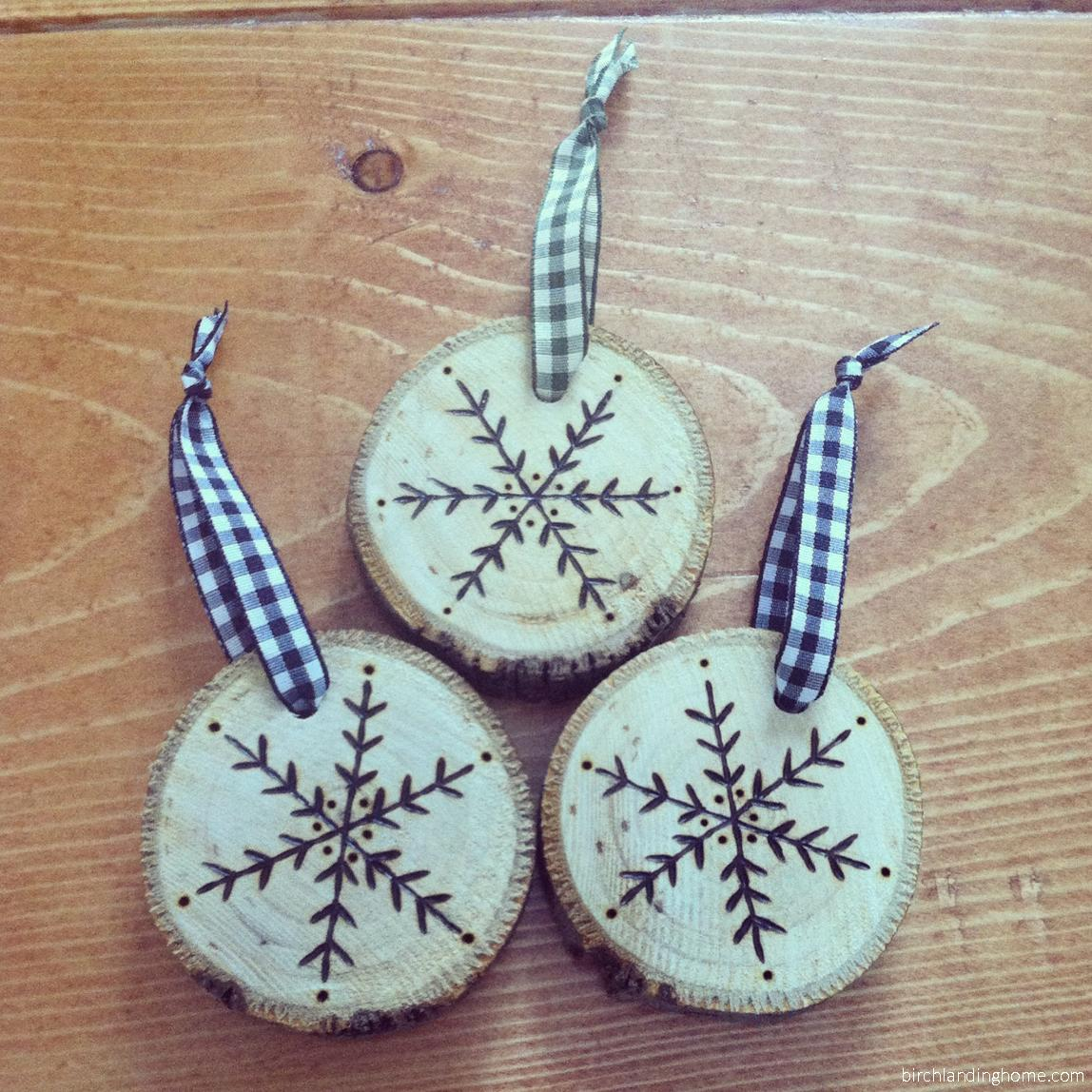 Birch Landing Home Hand-Etched Maple Snowflake Ornaments