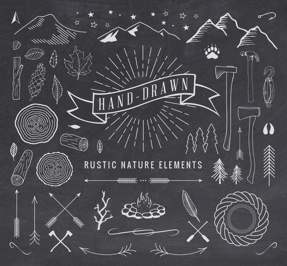 Hand-Drawn Rustic Nature Elements available from Creative Market