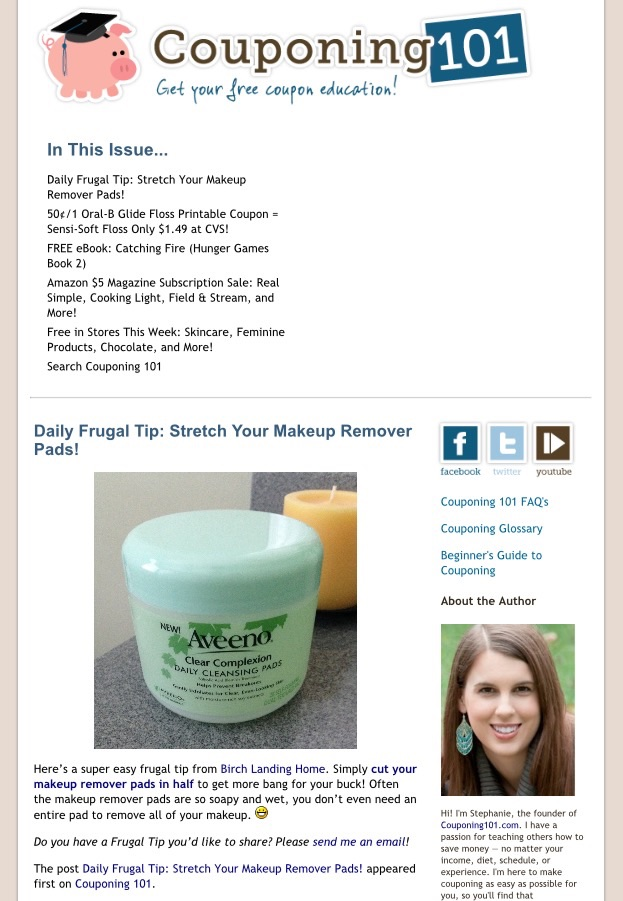 Birch Landing Home featured as the Frugal Tip of the Day in Couponing101's Newsletter