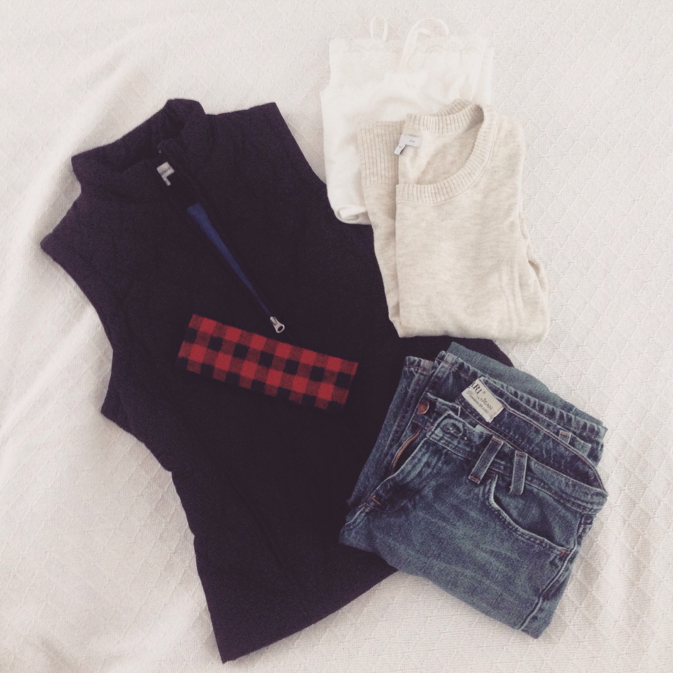 Perfect Simple Winter Outfit - Vest, Gap sweater, Earl jeans, Willow Crowns Buffalo Plaid Turban Wrap