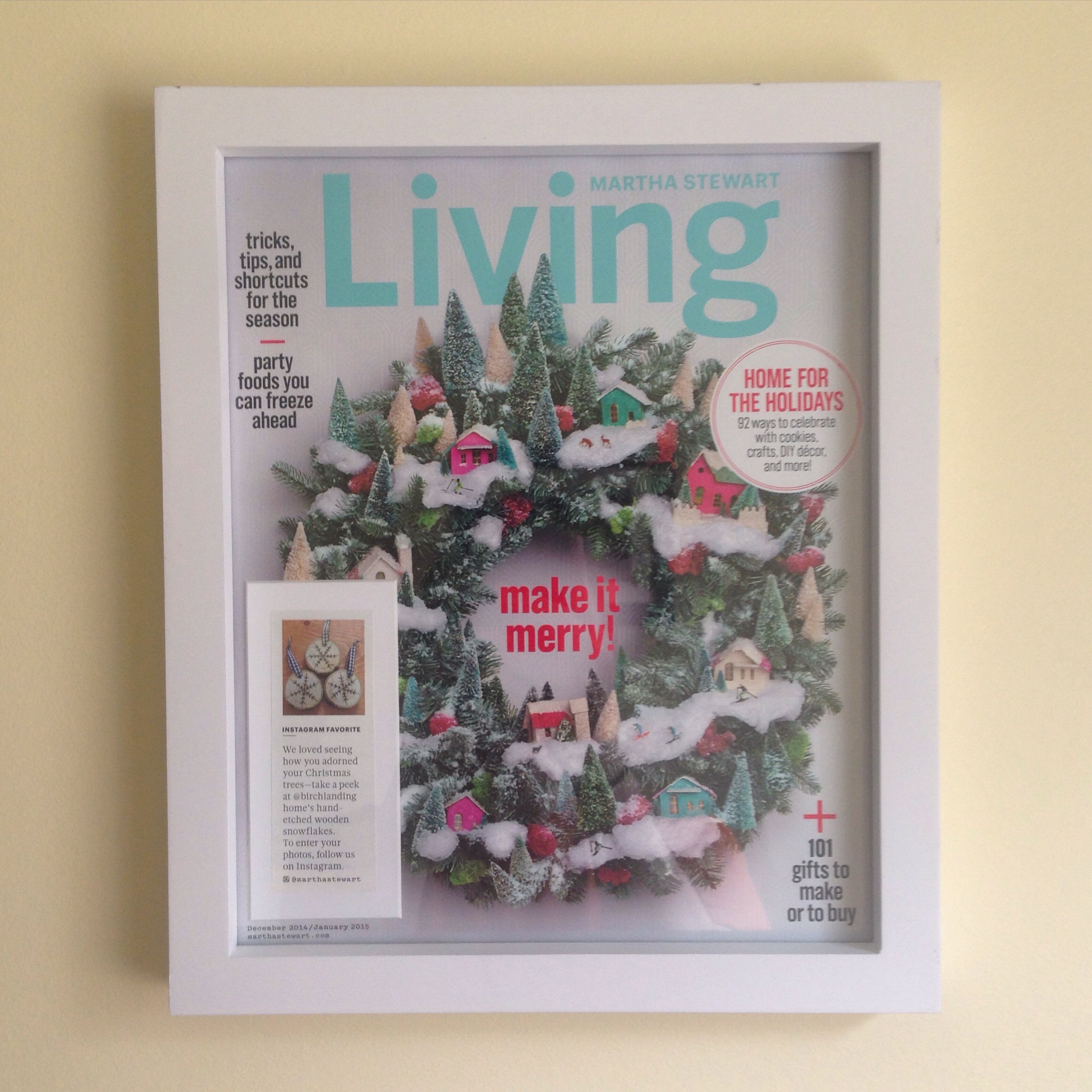 I framed the issue of Martha Stewart Living Magazine my ornaments were featured in.  Such an honor!