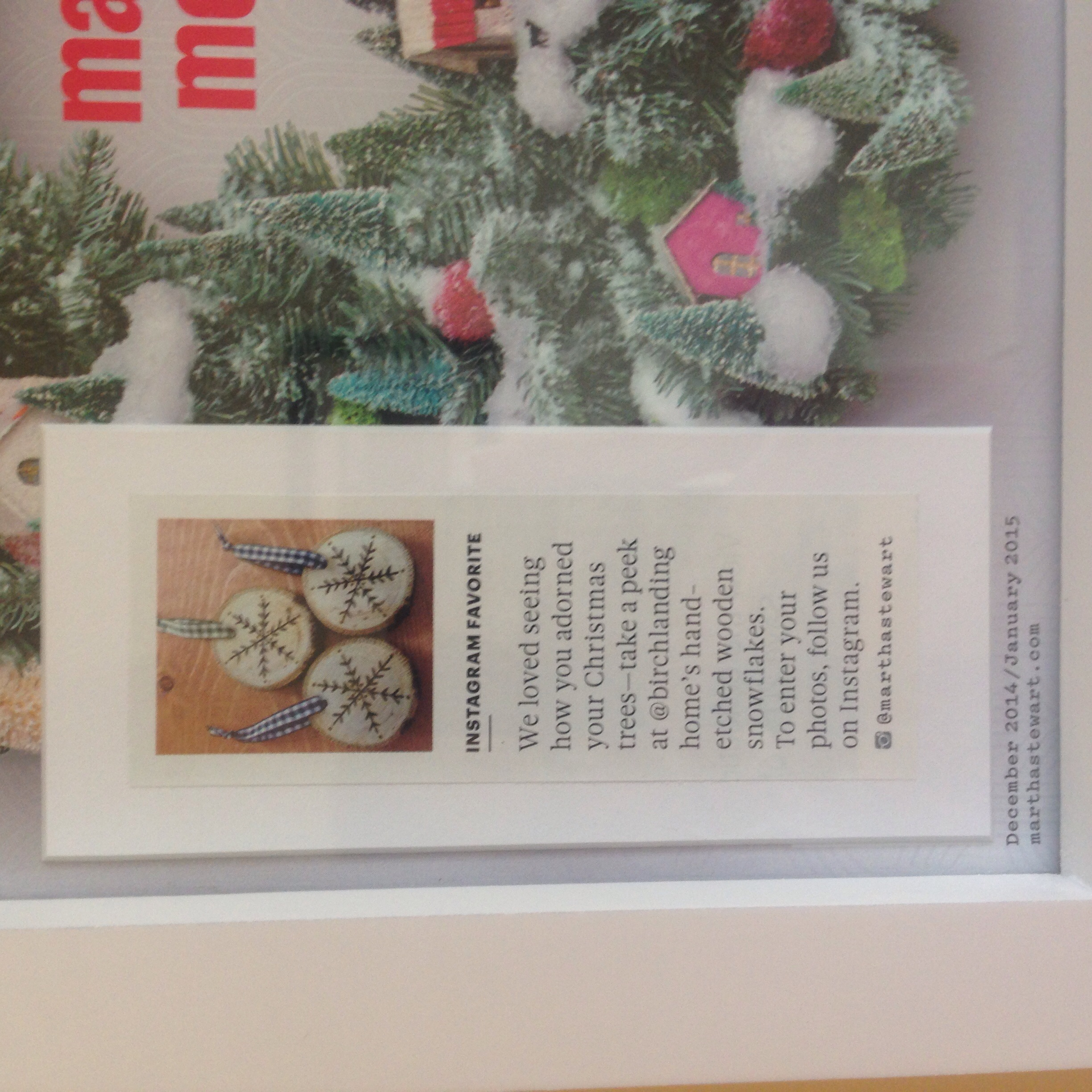 I framed the issue of Martha Stewart Living Magazine my hand-etched ornaments were featured in.