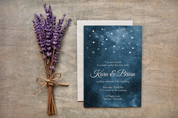 Painted Starry Night Wedding Invites - customizable and perfect for a romantic wedding