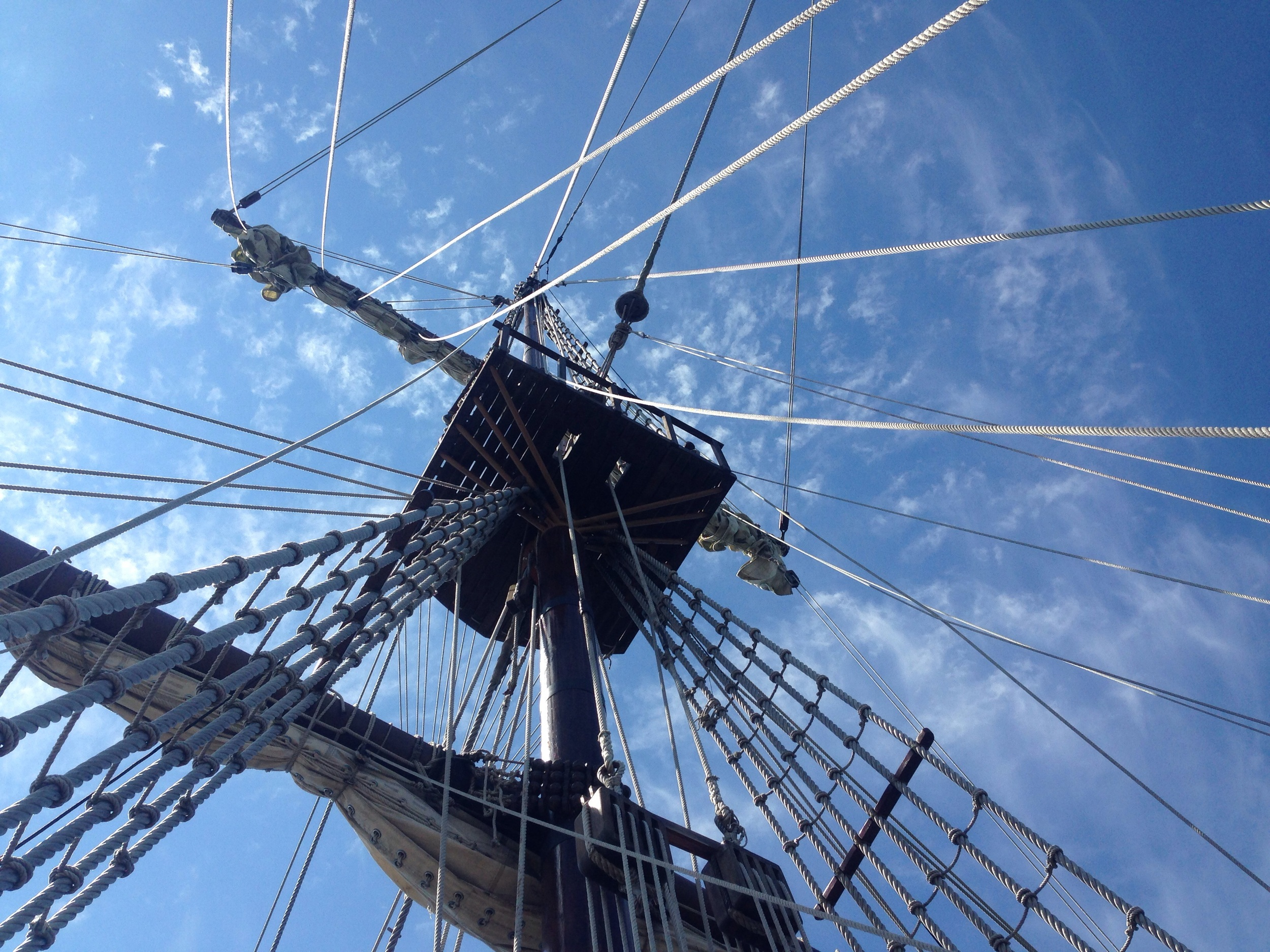 Rigging lines and sails of a Tall Ship in Portsmouth, NH
