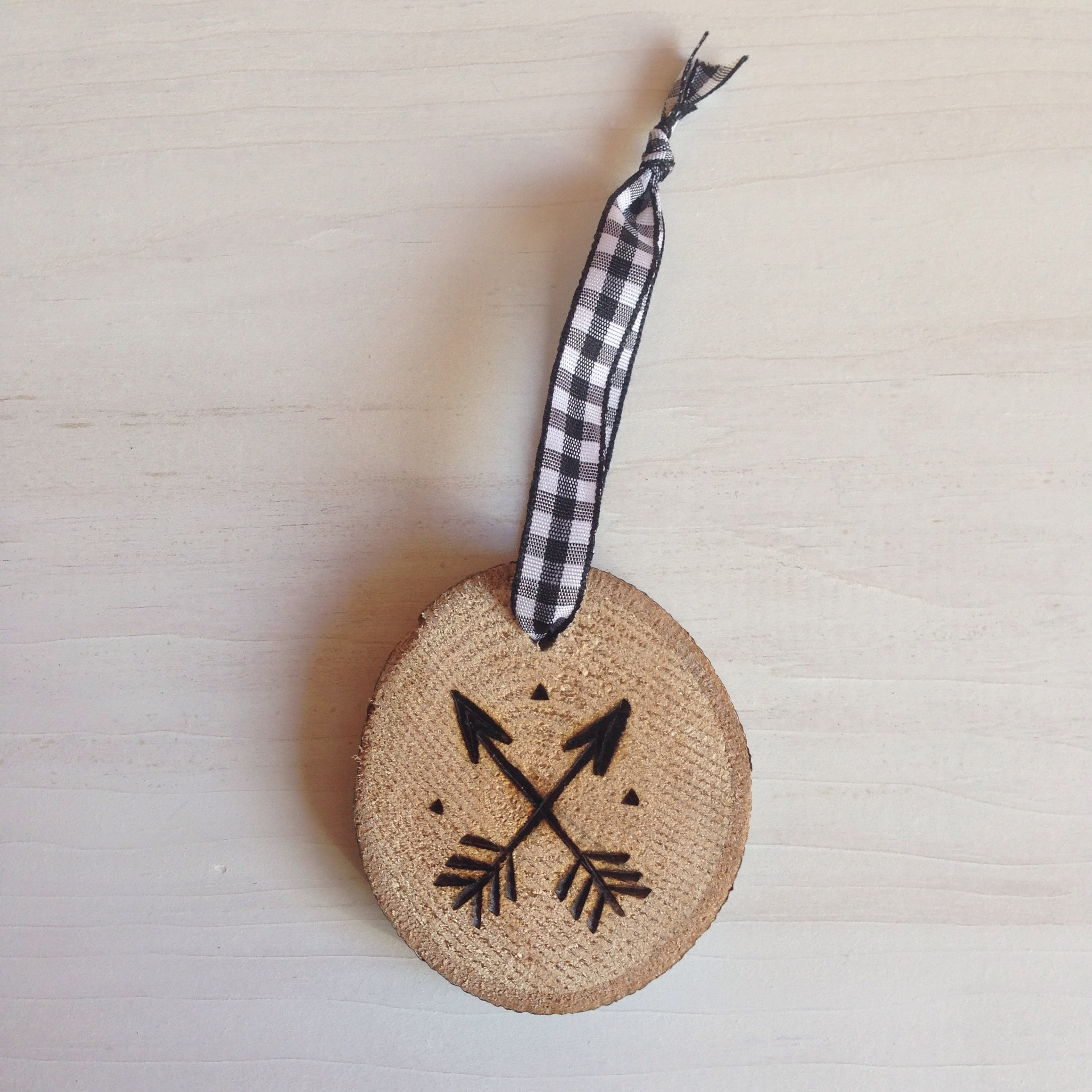 |   Arrow Hand-Etched Ornament in Maple   |