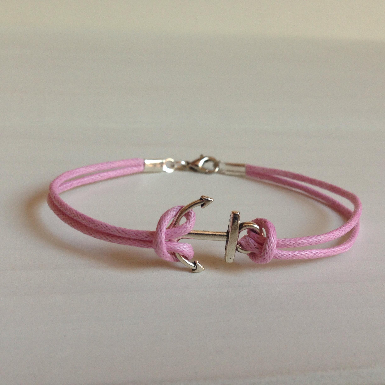 Pink Anchor Breast Cancer Awareness Bracelet
