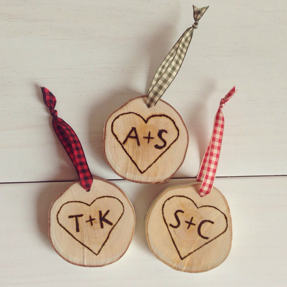 Custom Initial Heart Ornaments from Birch Landing Home - perfect gift or wedding favors!