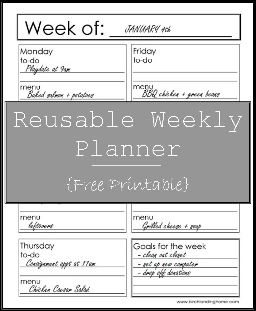 Reusable Weekly Planner Free Printable - to-do list, menu and meal planning, weekly goals
