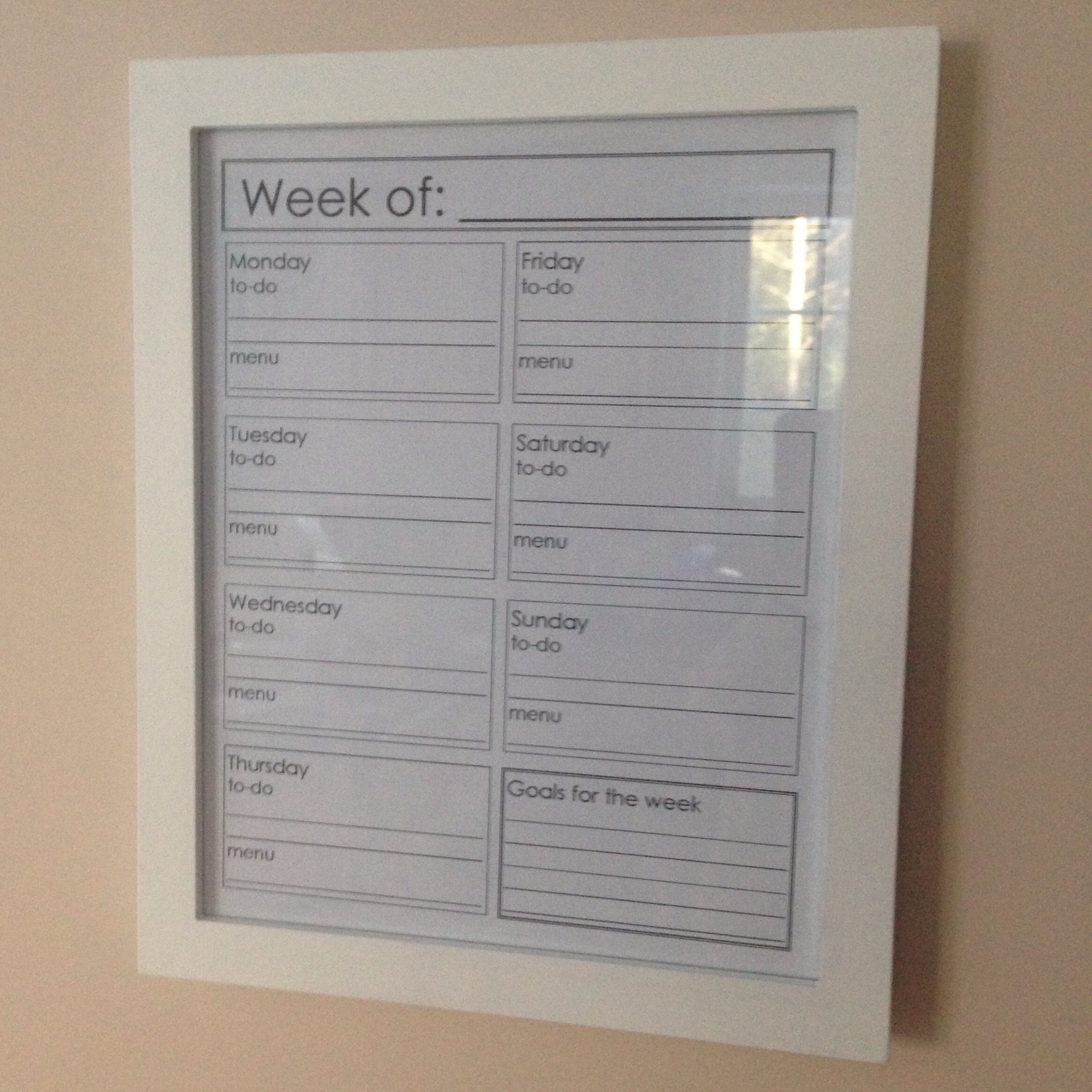 Reusable Weekly Planner in the kitchen